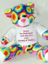 Personalised Teddy Pageboy Bridesmaid Flower Girl Wedding Rainbow Large Bear