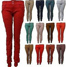 NEW WOMENS SKINNY CHINO SLIM FIT TROUSERS WOMENS CUFFED JEANS 8-16