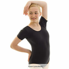 Ladies Short Sleeve Plain Ballet Dance Gymnastics Leotard Shiny Nylon Lycra
