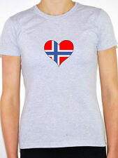 NORWAY / NORWEGIAN FLAG IN A HEART SHAPE - Europe Themed Womens T-Shirt