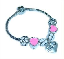 LADIES/GIRLS/CHILDRENS CHARM BRACELET PERSONALISE PINK & SILVER HEARTS BEADS
