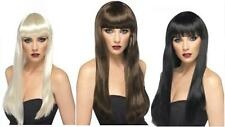 LADIES LONG STRAIGHT BEAUTY WIG HAIR with FRINGE FANCY DRESS ONE SIZE SELF STYLE