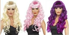 LADIES LONG LOOSE CURLY WIG WITH FRINGE PARTY FANCY DRESS SIREN HAIR ALL COLOURS
