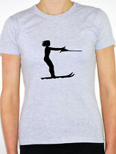 WATER SKIING SILHOUETTE - Sports / Boats / Waves / Novelty Themed Womens T-Shirt