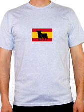 SPANISH FLAG WITH BULL SILHOUETTE - Spain / Europe / Novelty Themed Mens T-Shirt