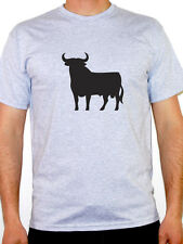 SPANISH BULL SILHOUETTE - Spain / Europe / European Novelty Themed Mens T-Shirt