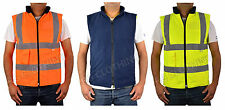 HI-VIS HIGH VISIBILITY REVERSIBLE FLEECE BODY WARMER WORK JACKET S-5XL