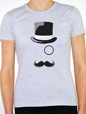 OLD ENGLISH GENTLEMAN - Top Hat / Mustache / Monocle Themed Women's T-Shirt