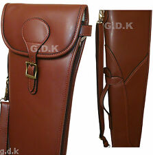 DARK BROWN LEATHER PU SHOTGUN SLIP,SHOTGUN CASE, BUCKLE FLAP & ZIP GDK311PU