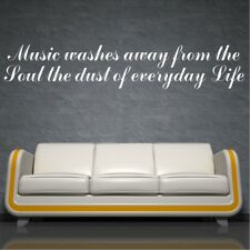MUSIC wall sticker bedroom living room quote stickers transfer decal mural vinyl