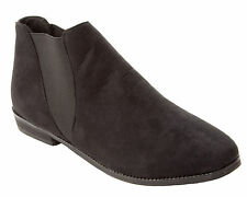 WOMENS BLACK FAUX SUEDE CHELSEA STRETCH ANKLE BOOTS SHOES LADIES UK SIZE 3-8