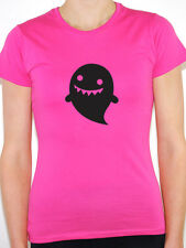 CARTOON GHOST SILHOUETTE - Halloween / Scary / Novelty Themed Women's T-Shirt