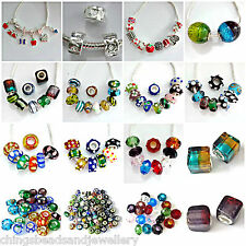 Murano Glass Beads Enamel Beads and Charms Fit European Bracelet