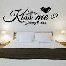 ALWAYS KISS ME GOODNIGHT wall quote bedroom lounge love art vinyl sticker decal