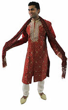 Burgundy Mens Semi wedding Sherwani Indian Designer Kurta 3pc with shawl size