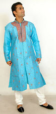 Blue Red Mens Semi wedding Sherwani Indian Designer Kurta 3pc with shawl size