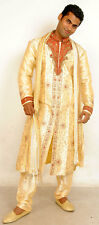 Gold Red  Mens Semi wedding Sherwani Indian Designer Kurta 3pc with shawl size