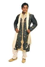 Black  Mens Semi wedding Sherwani Indian Designer Kurta 3pc with shawl size