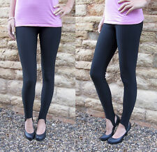 LONG Leggings Women STIRRUP Embossed Line Stretch Pants SALE BLACK SIZE 6 8 Tall