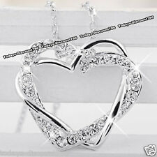 NEW Silver Love Heart Crystal Necklace Wife Girlfriend Women Xmas Gifts For Her