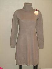 Robe d'hiver manches longues col roule taupe laine cachemire neuf 36 38 40 lady