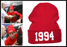 Justin Bieber Beanie Hat Red Knitted Ribbed Fold 1994