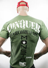 Monsta Clothing Mens Graphic Tee Bodybuilding Gym Wear CONQUER GREEN T Shirt New