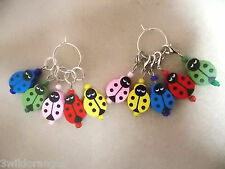 Knitting or Crochet Stitch Markers Ladybirds Set of 5