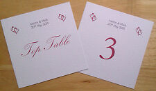 PERSONALISED WEDDING OR PARTY TABLE NUMBERS HEARTS