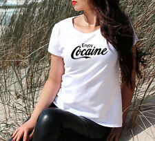 ENJOY COCAINE  T SHIRT TUMBLR DOPE SWAG  HIPSTER TOP GIRLS URBAN STYLE OUTFIT