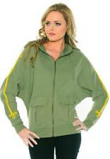 Bnwt Women's Christian Audigier Tapered Sleeve Ceremony Zipped Hoodie Olive