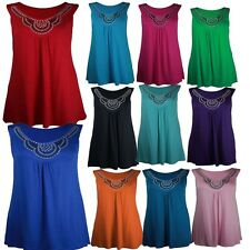 New Ladies Plus Size Beaded Neck Detail Tunic Tops Studded Tunic Vests 14-28