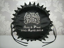 Personalised  Gothic / Steampunk  Embroidered Ring Cushion / Pillow  Wedding