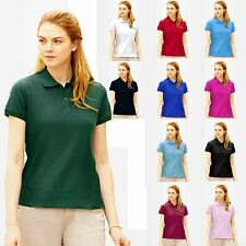 POLO DONNA a Maniche Corte Fruit of The Loom Premium Cotone 100% Maniche Corte
