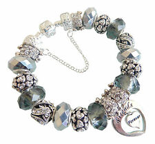 Exquisite Ladies Charm Bracelet Classic SILVER GREY Sparkle PERSONALISE Gift Box