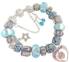 Ladies Charm Bracelet PERSONALISE Sparkling Blue & Silver BIRTHDAY Present