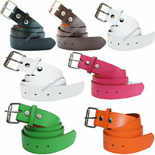 NEW MENS LADIES WHITE FAUX LEATHER BELT WITH REMOVABLE BUCKLE SMALL & PLUS SIZE