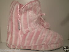 WOMENS GIRLS WINTER WARM FURRY POM POM SLIPPERS BOOTS PINK SIZE 3 4 5 6 7 8 NEW