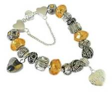 PERSONALISED LADIES/WOMENS CHARM BRACELET ANTIQUE SILVER & CITRINE GIFT BEADS