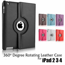 Leather 360 Degree Rotating Smart Stand Case Cover For New iPad 4 iPad 3 iPad 2