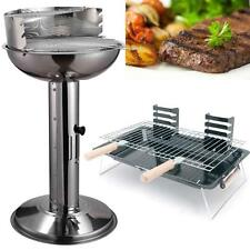 Stainless Steel Charcoal Barbecue Pedestal BBQ Adjustable Outdoor Cooking Grill