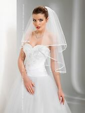 "New 2T White / Ivory Wedding Prom Bridal Elbow Veil With Comb 30"" - Satin Edge"
