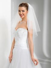 "New 2T White/Ivory Wedding Hen Party Bridal Elbow Veil with Comb 24"" - Cut Edge"