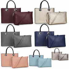 Ladies Faux Leather Top Handle Shoulder Totes Hand Bag With Extra Medium Bag