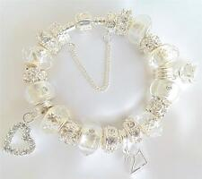 LADIES/GIRLS SPARKLING CLEAR &  SILVER CHARM BRACELET BIRTHDAYS/PERSONALISE BEAD