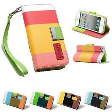 Apple iPhone 4 4S 4G New Leather Flip Case Cover Pouch Designer Strip Wallet