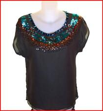 Bnwt French Connection Silk Sequin Blouse Top T Shirt Tunic Fcuk RRP£75 New