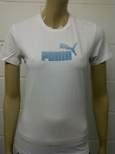 Womens Puma T-Shirt Top White - Blue Print Size 10 - 12 A43