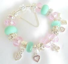 LADIES/WOMENS PERSONALISED CHARM BRACELET ICE BLUE & PINK  BEAD GIFT PRESENT BOX