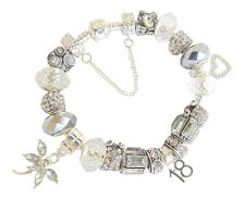 Ladies Girls Charm Bracelet Silver & Ice White SPARKLE Gift Box PERSONALISE